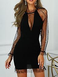 Недорогие -Жен. Секси Элегантный стиль Прозрачный Оболочка Платье - Однотонный, Кружева Глубокий V-образный вырез Выше колена