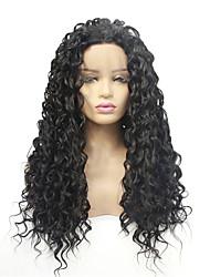 Недорогие -Синтетические кружевные передние парики Волнистые Стиль Свободная часть Лента спереди Парик Черный Черный Искусственные волосы 8-26 дюймовый Жен. синтетический Черный Парик Средняя длина 130