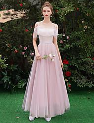저렴한 -A-라인 스파게티 스트랩 긴 길이 튤 신부 들러리 드레스 와 주름장식 으로 LAN TING Express