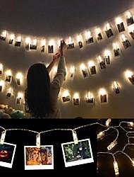 Недорогие -6 м клиподержатель светодиодные струнные фонари на батарейках Рождество Новый год свадьба Рамадан украшения сказочные огни