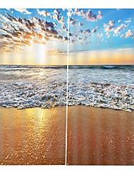 Недорогие -Современная простая 3d печать высокой четкости пляж волна карта украшения дома утолщение чистого полиэфира многофункциональный занавес многофункциональный занавеска для ванной / занавес