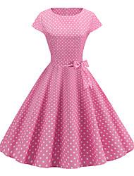 cheap -Women's Basic Chinoiserie A Line Swing Dress - Polka Dot Print Red Blushing Pink Light Blue L XL XXL