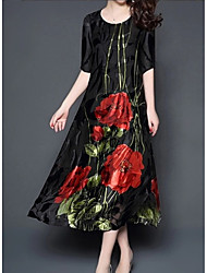 Недорогие -Жен. Большие размеры Рельефный рисунок Свободный силуэт С летящей юбкой Платье - Цветочный принт, Цветочный стиль Средней длины
