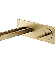 Недорогие -Ванная раковина кран - Водопад Матовое золото На стену Одной ручкой Два отверстияBath Taps