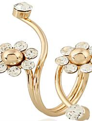 Недорогие -Жен. Открытое кольцо 1шт Золотой Хром Круглый Милая Мода Повседневные Бижутерия геометрический Цветы