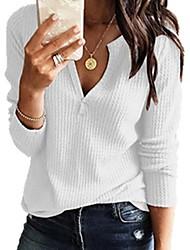 Недорогие -Жен. На каждый день / Классический Вязанная Однотонный Длинный рукав Пуловер, V-образный вырез Весна / Осень Черный / Белый / Розовый S / M / L
