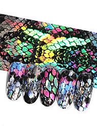 abordables -16 unids diseño de serpiente hojas de uñas holográficas cielo estrellado papel de transferencia etiqueta 20 * 4 cm manicura uñas calcomanías de arte