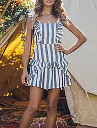 cheap -Women's Boho Street chic Sheath Dress - Striped Backless Ruffle Gray M L XL