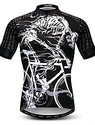 Недорогие -WEIMOSTAR Муж. С короткими рукавами Велокофты Черный / Белый Велоспорт Спортивный костюм Джерси Верхняя часть Дышащий Виды спорта Полиэстер Эластан Терилен Горные велосипеды Шоссейные велосипеды