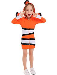 Недорогие -Рыбки Костюм Девочки Животный принт Хэллоуин Выступление Косплэй костюмы Тематическая вечеринка костюмы Девочки Детская одежда для танцев Терилен Полоски