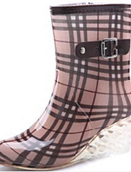 Недорогие -Жен. Ботинки Резиновые сапоги Туфли на танкетке ПВХ Сапоги до середины икры Весна Черный / Коричневый / Светло-Розовый