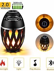 Недорогие -1 шт. Светодиодная лампа пламени bluetooth-динамик сенсорный мягкий свет для iphone android рождественский подарок mp3-плеер колонки супер бас водонепроницаемый динамик