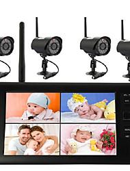 Недорогие -7-дюймовая беспроводная камера видеонаблюдения DVR 2,4 г поддерживает одновременное отображение четырех экранов