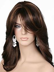Недорогие -Парики из искусственных волос Естественные кудри Стиль Стрижка каскад Без шапочки-основы Парик Темно-коричневый Шоколадный Искусственные волосы 55~58 дюймовый Жен. Новое поступление Темно-коричневый