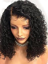 Недорогие -человеческие волосы Remy Полностью ленточные Лента спереди Парик Боковая часть стиль Бразильские волосы Кудрявый Черный Парик 130% 150% 180% Плотность волос