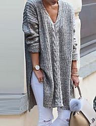 Недорогие -Жен. Однотонный Длинный рукав Пуловер, V-образный вырез Черный / Серый L / XL / XXL