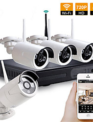 Недорогие -4ch 720p открытый безопасности дома беспроводная камера открытый wi-fi nvr комплект безопасности