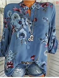Недорогие -Жен. На выход Пэчворк / С принтом Рубашка Рубашечный воротник Классический Цветочный принт Синий