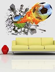 Недорогие -3d футбол футбол пожарная площадка сломанная стена отверстие стикер