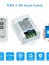Недорогие -Smart Switch AC220V 1-канальный релейный переключатель / управление мобильным приложением / 2,4 г Wi-Fi / Wi-Fi удаленного включения / выключения голосовое управление приложения / функция времени /