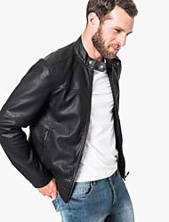 billige -faux læderjakke med lynlåsfastgørelse foran / slidstærkt