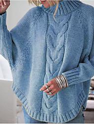 Недорогие -Жен. Однотонный Длинный рукав Пуловер, Хомут Черный / Розовый / Желтый S / M / L