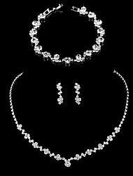 Недорогие -Жен. Серьги-слезки Цепочка Браслет Теннисная цепь Простой корейский Мода Элегантный стиль Искусственный бриллиант Серьги Бижутерия Серебряный Назначение