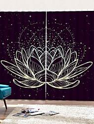 Недорогие -лотос пейзаж окна шторы декоративные шторы затемнение звукоизоляция теплоизоляция фон спальня / гостиная / гостиница