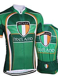 Недорогие -21Grams Ирландия Флаги Муж. С короткими рукавами Велокофты - Зеленый Велоспорт Джерси Верхняя часть Дышащий Влагоотводящие Быстровысыхающий Виды спорта Терилен Горные велосипеды Шоссейные велосипеды