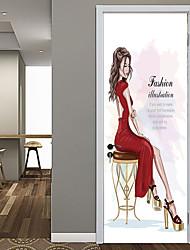 Недорогие -мода красота дверные наклейки декоративные водонепроницаемые наклейки на двери