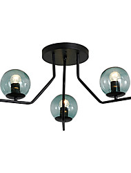 Недорогие -Спутник скрытого монтажа подсветки рассеянный свет окрашенные поверхности металлический потолочный светильник 3 лампы люстра шар стеклянный плафон простой подвесной светильник черный