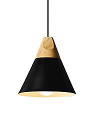 Недорогие -нордический стиль деревянный подвесной светильник простота современный металлический оттенок гостиная столовая спальня подвесной светильник