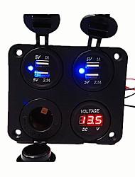 Недорогие -dc12v 3.1a автомобильное зарядное устройство 4 отверстия панели недавно разработанный двойной usb разъем вольтметр гнездо прикуривателя