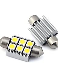 Недорогие -2шт автомобиля светодиодные гирлянды лампочек 2 Вт 12 В smd 5050 6 светодиодный белый теплый белый для купольного света лампа для чтения внутреннего света номерного знака свет габаритный фонарь