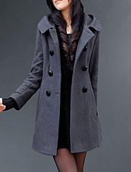 Недорогие -Жен. Повседневные Длинная Пальто, Однотонный Капюшон Длинный рукав Полиэстер Черный / Серый