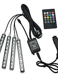 Недорогие -Атмосфера автомобиля лампы дистанционного управления RGB светодиодные полосы света мода авто украшения интерьера