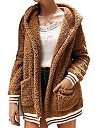 Недорогие -Жен. Повседневные Классический Обычная Пальто с мехом, Однотонный Капюшон Длинный рукав Полиэстер Розовый / Верблюжий / Зеленый S / M / L