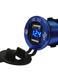 Недорогие -Автомобиль мотоцикл переоборудован зарядное устройство USB мобильный телефон планшет qc3.0 металл быстрая зарядка модели синий алюминиевый корпус синий вольтметр qc3.0