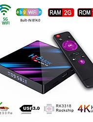 Недорогие -h96 max smart android 9.0 тв бокс rv3318 четырехъядерный 64 бит uhd 4k vp9 h.265 2 ГБ / 16 ГБ 2.4 г / 5 г wifi bt4.0 hd медиаплеер ТВ бокс