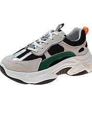 ราคาถูก -สำหรับผู้หญิง รองเท้ากีฬา รองเท้าบู้ทส้นเตารีด ปลายกลม PU วสำหรับเดิน ฤดูใบไม้ผลิ & ฤดูใบไม้ร่วง สีดำ / ผ้าขนสัตว์สีธรรมชาติ