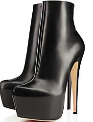 Недорогие -Жен. Ботинки На шпильке Круглый носок Полиуретан Ботинки Наступила зима Черный