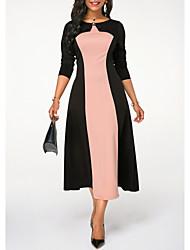 Недорогие -Жен. Элегантный стиль А-силуэт Платье - Однотонный, Пэчворк Средней длины