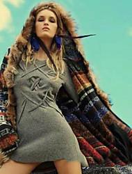 Недорогие -Жен. Повседневные Длинная Пальто с мехом, Контрастных цветов Капюшон Длинный рукав Полиэстер Хаки S / M / L