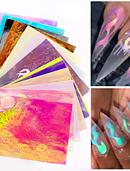 Недорогие -гвоздь пламя наклейка горячий стиль лазерная радужная палочка для ногтей с 16 цвет десен