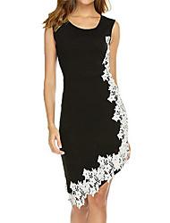Недорогие -Жен. Элегантный стиль Оболочка Платье - Однотонный, Кружева Ассиметричное / Большие размеры