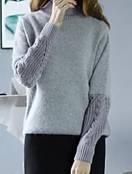 billige -Dame Farveblok Langærmet Pullover, Rullekrave Efterår Grå En Størrelse
