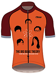 Недорогие -21Grams Теория большого взрыва Муж. С короткими рукавами Велокофты - Черный / красный Велоспорт Джерси Верхняя часть Дышащий Влагоотводящие Быстровысыхающий Виды спорта 100% полиэстер / троеборье