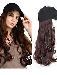 Недорогие -Парики из искусственных волос Синтетические экстензии Волнистый Стиль Свободная часть Машинное плетение Парик Черный Темно-коричневый Каштаново-коричневый Искусственные волосы 24 дюймовый Жен.