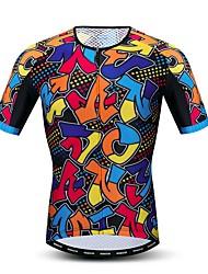 hesapli -JPOJPO Yuvarlak Noktalı Gökküşağı Erkek Kısa Kollu Bisiklet Forması - Turuncu Bisiklet Forma Üstler Nefes Alabilir Nem Emici Hızlı Kuruma Spor Dalları Polyester Elastane Terylene Dağ Bisikletçiliği