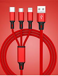 Недорогие -USB-кабель для iphone XS X 8 7 6 зарядное устройство 3 в 1 Micro USB-кабель для Android USB тип кабеля для мобильного телефона Samsung S9